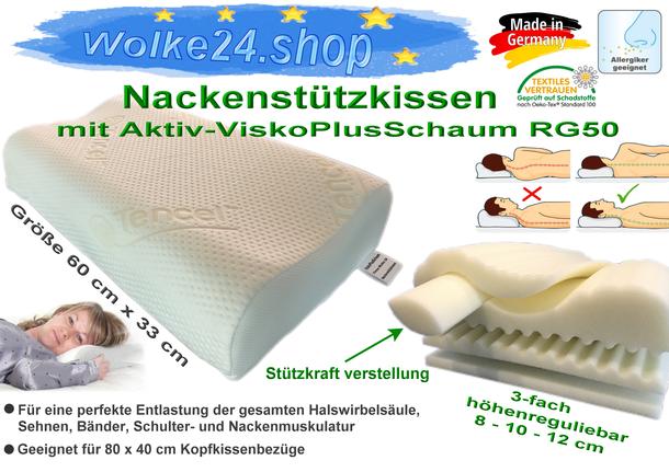 Orthopädisches Viskose Nackenstützkissen höhenverstellbar Kopfkissen mit ViskoPlusSchaum
